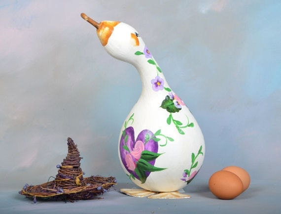 Hand painted gourd Canada goose 9 1/2 by 6 inches ... |Dried Gourds Goose