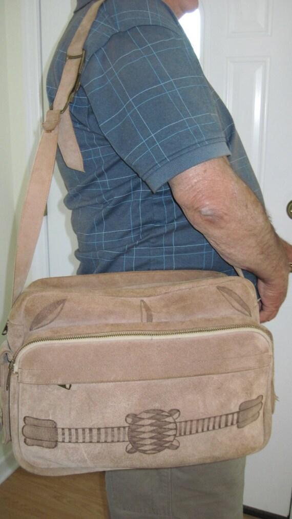 Vintage Suede Leather Shoulder Bag with 6 Pockets Camera Tote Travel