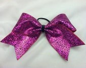 """3"""", 3 inch cheer cheerleader bow with purple crackle look and black center"""