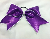 """3"""", 3 inch cheer cheerleader bow with PURPLE sequins on white ribbon"""