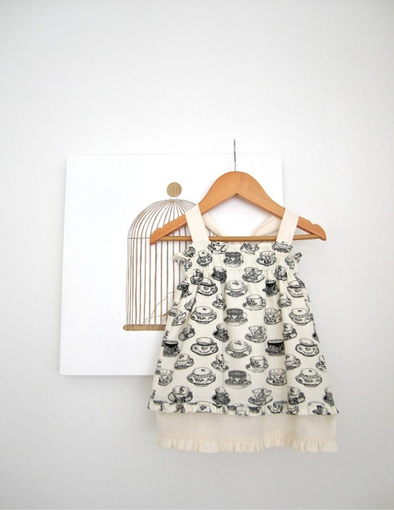 Last One..Sale 30% off..Black and Cream Teacups baby dress-cotton/linen- toddler-girls-french inspired- Children Clothing by Chasing Mini