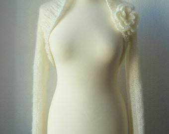 "Bolero, shrug, wedding ""Mohair"" in cream"