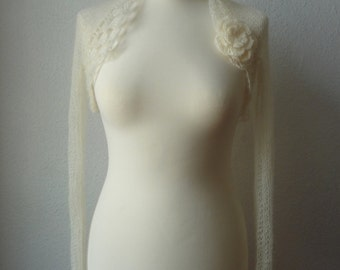"Bolero, shrug, wedding ""kid mohair"" in cream"