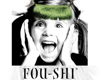 FOU-SHI - the instant haircut - silver olive green - pony to connect