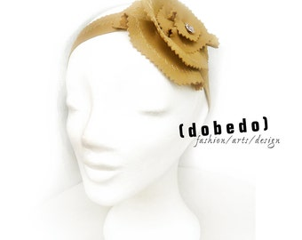 Hair band FASCINATOR flower Leather Brown