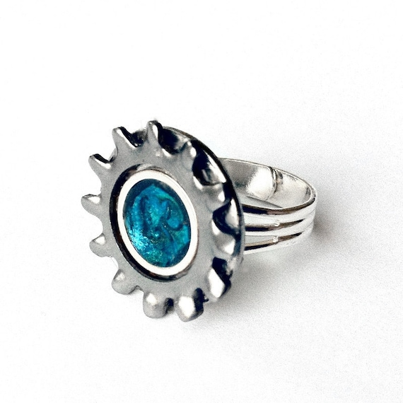 Unisex Silver Ring, Adjustable Silver Ring, Teal Ring, Teal Jewelry, Blue Ring, Mens ring, Womens ring, Gear Ring, Mechanics Ring