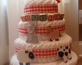 Farm-Themed 4-Tier Diaper Cakes