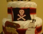 Pirate-Themed 2-Tier Diaper Cake