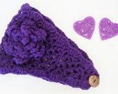 Handmade Women Girls Crochet Flower Headband with Match Earrings Dark Pueple