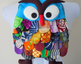 New Rare Handmade OWL Patchwork Shoulder Bag 100% Cotton Turquoise