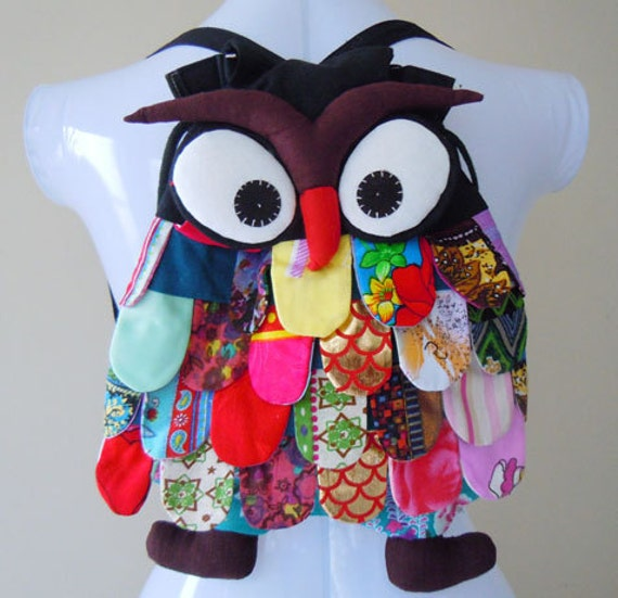 New Rare Handmade OWL Patchwork Backpack Bag 100% Cotton Black