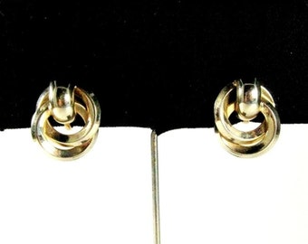 Vintage Earrings Gold Knot / 50s Mid Century Screw Back Earrings