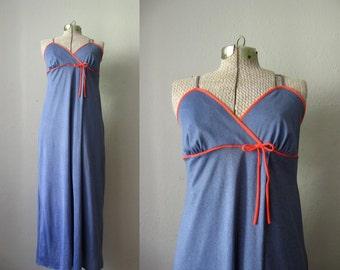 1970s Vintage Maxi Dress Faux Denim Blue Dress Red Bow / Large
