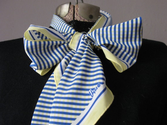 "Vintage Vera Scarf Striped Blue Yellow Gingham 1970s Silky / Bow Tie Long Scarf / 60"" x 7"""