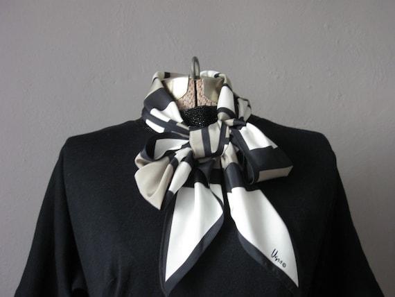 "Geometric Vera Scarf Black Taupe Cream Vintage 1970s Silky / Long Scarf Striped Color Block / 60"" x 7"""