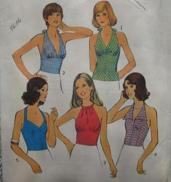 70s Halter Top Pattern Blouse Five Variations / 1973 Vintage Sewing Pattern Style 4174 / Size 14 Bust 36
