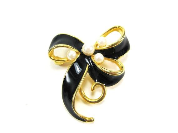60s Vintage Brooch / Gold Bow Brooch Pin / Pearl Black Enamel Brooch