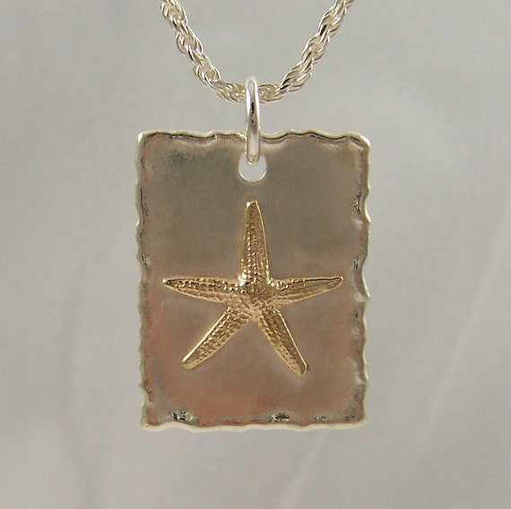 14k Gold and Sterling Silver Star Fish Necklace