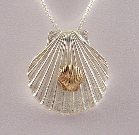 14k Gold Sea Shell on Sterling Silver Shell Necklace