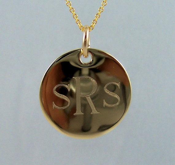 """7/8"""" Engraved Monogram Necklace, Initial monogram Gold Filled and Personalized Excellent Bridesmaids Gift"""