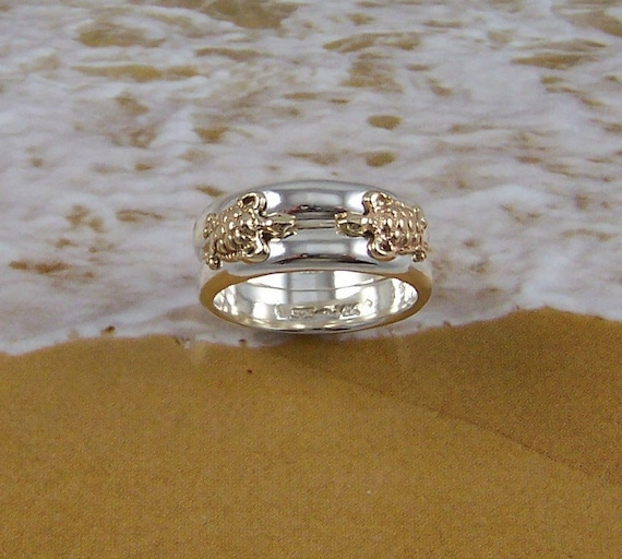 Turtles In Love Double Turtle Ring With Two 14k Gold Turtles