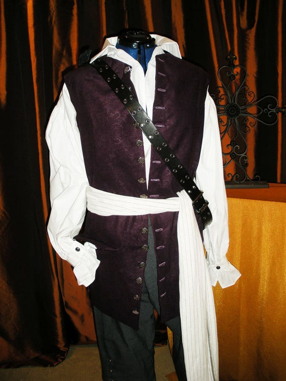 Pirate, Colonial style Vest, Fully lined vest, with back vent and tie. Custom Orders Katelyn's Wedding