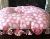Dog Bed -Oval 'Pink Polka '