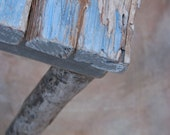 HOLD for Marie Claire - driftwood table - ocean motif - driftwood and reclaimed wood table - ocean-blue detail