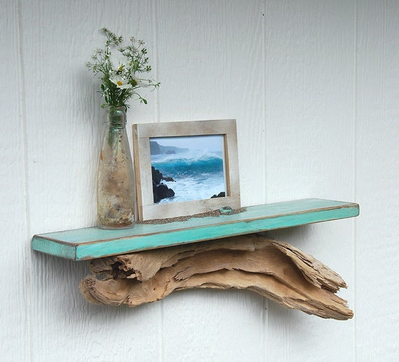 Driftwood shelf, distressed teal shelf with driftwood base