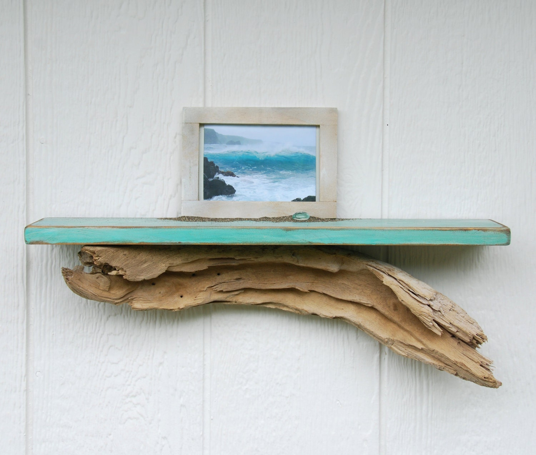 Distressed driftwood shelf 24 teal beach shelf with for Driftwood wall shelves