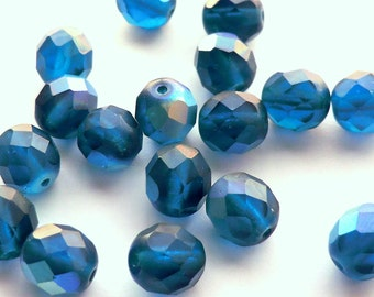 Dark Blue Czech Glass Faceted Round Beads, Matte AB Finish, 8mm - 10