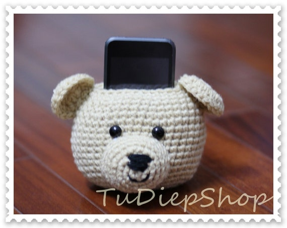 15% OFF - Cell phone stand holder plush - Teddy Bear - PDF pattern