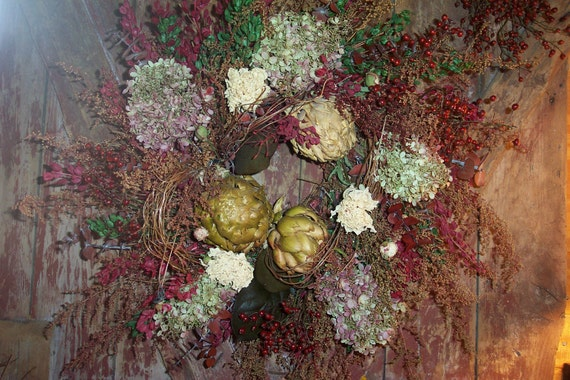 Honeysuckle Vine and Artichoke Wreath