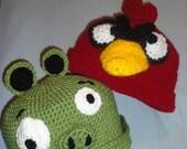 Grumpy Bird AND Green Piggy Crochet Hat