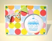 Glitter Cupcake & Bunting Happy Birthday Card