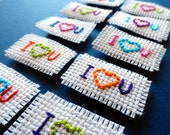 Set of 5 - I love you cross stitch magnet -  Handmade, spring, easter, colorful, supplies, heart, goodie bag, valentine, birthday, adult