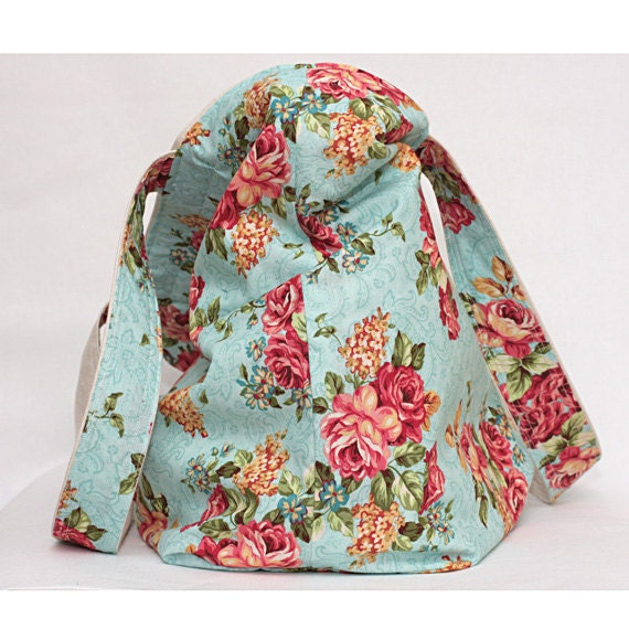 Natural / Floral Lined Canvas Tote - Reversible