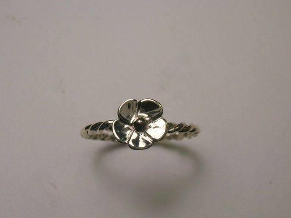 Flower Ring  With Braided Band In Sterling Silver