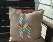 Burlap initial pillow Indoor/Outdoor 18x18