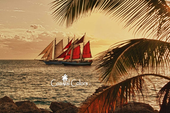 Sunset Sail - HDR - 8 x 10 color print of sailboats sailing at sunset in Key West, Florida
