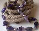 Chunky free form amethysts and fresh water pearls NECKLACE