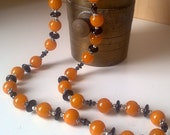 Happy Bee Set :  man made amber and onyx necklace and bracelet.