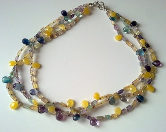 ELEGANT and COLOURFUL  fluorite  necklace and bracelet