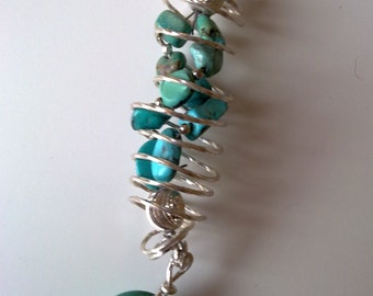 Sterling silver wire wrapped turquoises pendant on hand made silver choker.