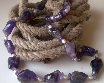 CHUNKY : amethysts and fresh water pearls