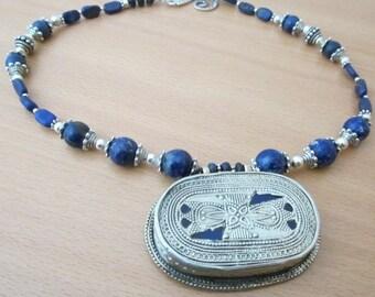 TURKMEN   nomadic pendant on lapis lazuli and silver necklace.