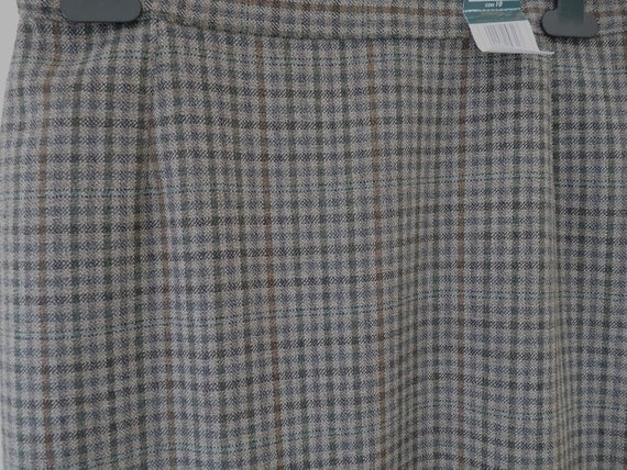 Pencil Skirt UK size 12 all wool 1970s tweed green brown check fully lined, label attached