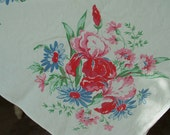 Vintage Printed Tablecover, Table cloth - Iris and Daisies