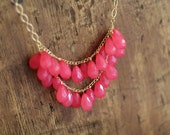 Hot Pink Cluster Statement Necklace