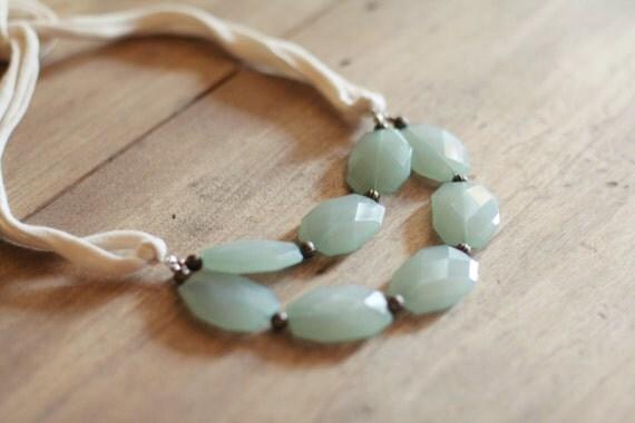Aqua Blue Stones Statement Necklace